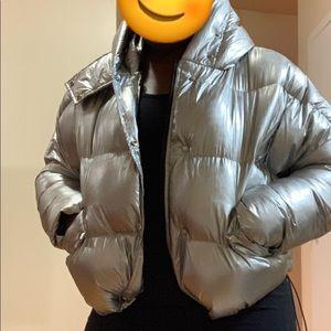 Silver short stylish puffer
